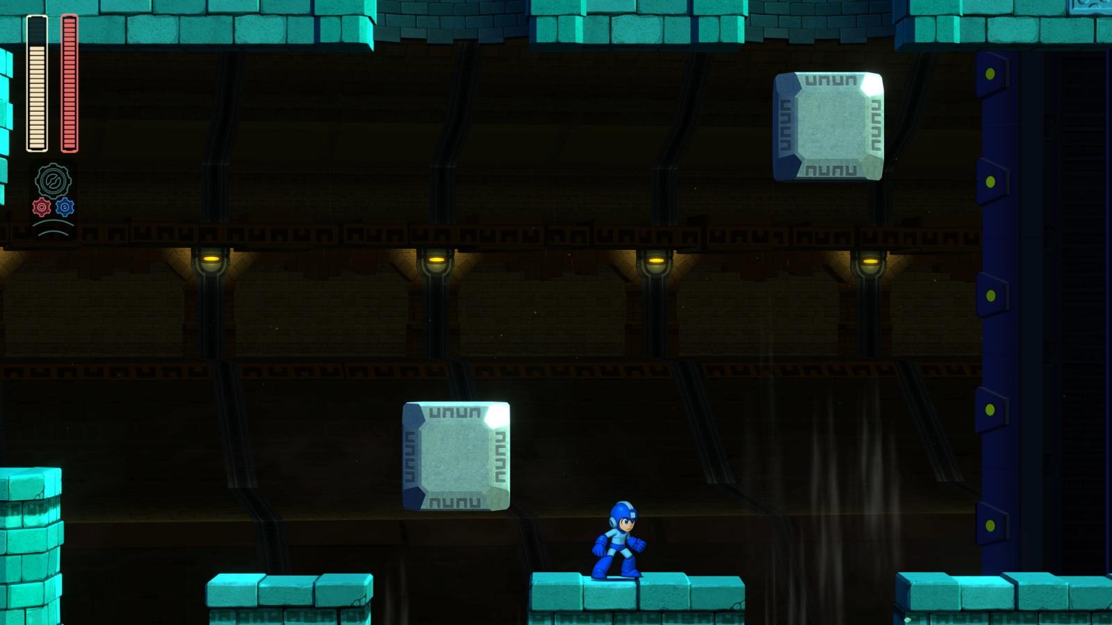 Mega Man 11 fase do Block Man primeira seção de blocos