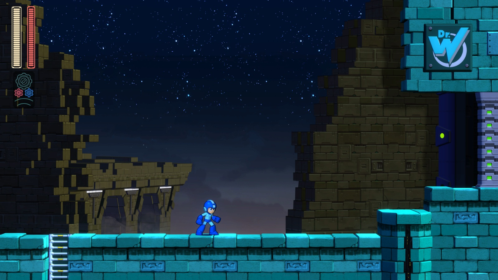 Mega Man 11 fase do Block Man antes da sala do chefe