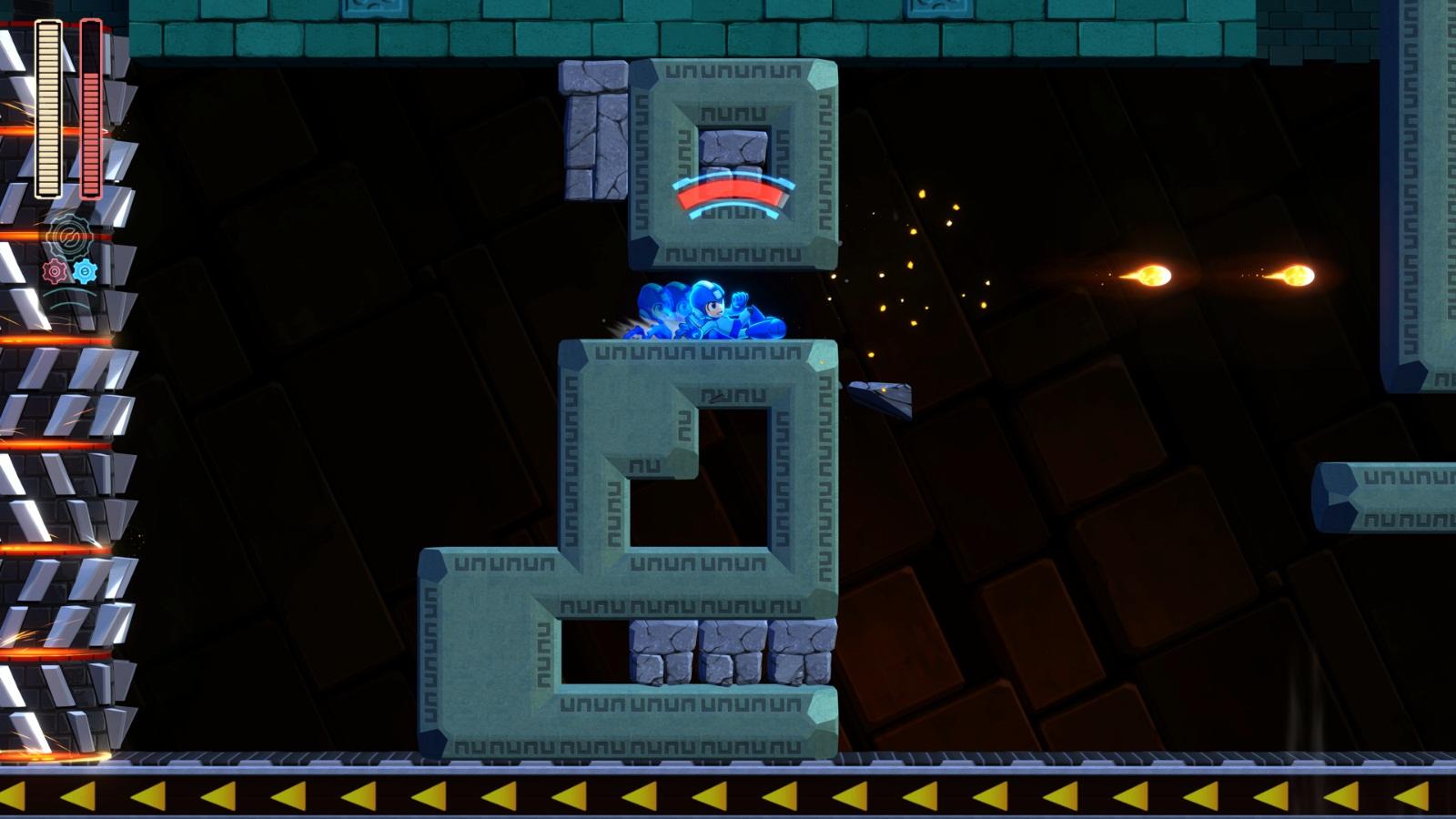 Mega Man 11 fase do Block Man com speed gear contra um hit kill
