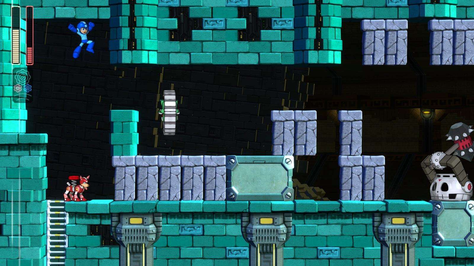 Mega Man 11 fase do Block Man blocos destrutíveis