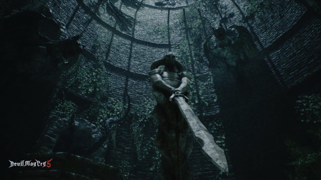 A estátua de Sparda em Devil May Cry 5 continua icônica